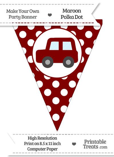 Maroon Polka Dot Pennant Flag with Car Facing Left from PrintableTreats.com