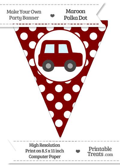 Maroon Polka Dot Pennant Flag with Car Facing Right from PrintableTreats.com