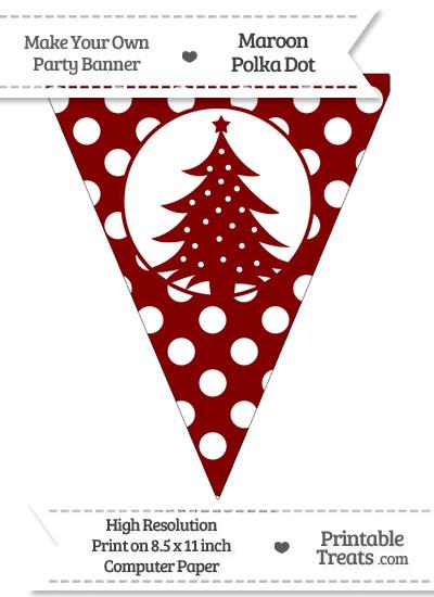 Maroon Polka Dot Pennant Flag with Christmas Tree from PrintableTreats.com