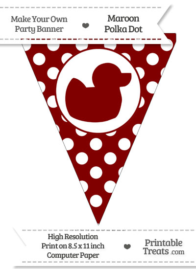 Maroon Polka Dot Pennant Flag with Duck Facing Right from PrintableTreats.com