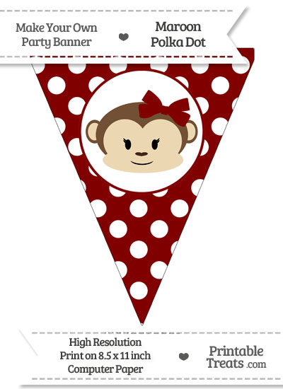Maroon Polka Dot Pennant Flag with Girl Monkey from PrintableTreats.com