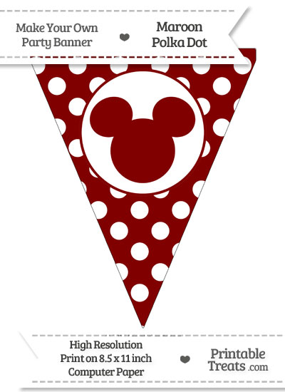 Maroon Polka Dot Pennant Flag with Mickey Mouse from PrintableTreats.com