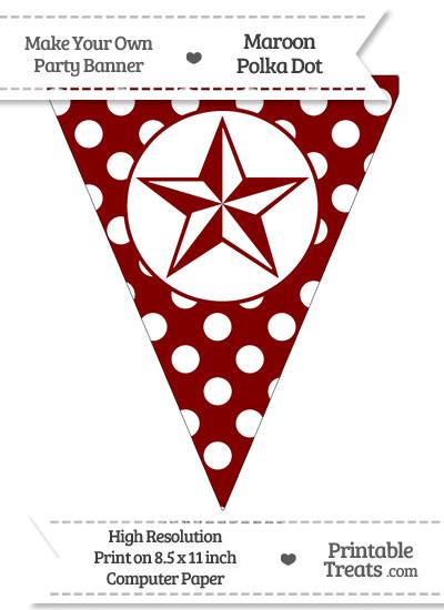 Maroon Polka Dot Pennant Flag with Nautical Star from PrintableTreats.com