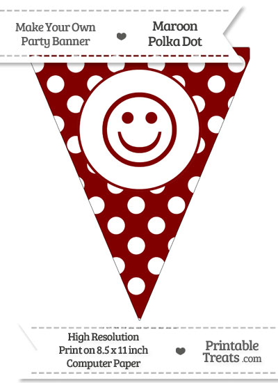Maroon Polka Dot Pennant Flag with Smiley Face from PrintableTreats.com