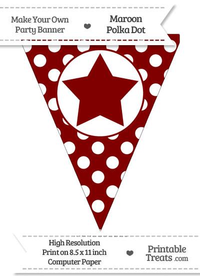 Maroon Polka Dot Pennant Flag with star from PrintableTreats.com