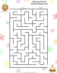 birthday maze for preschoolers