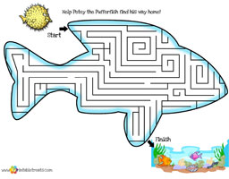 fun mazes for kids fish