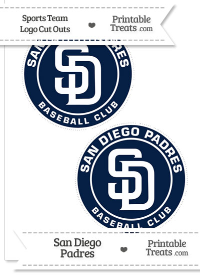 Medium San Diego Padres Logo Cut Outs from PrintableTreats.com