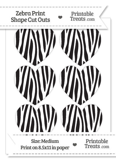 Medium Sized Skinny Zebra Print Heart Cut Outs from PrintableTreats.com