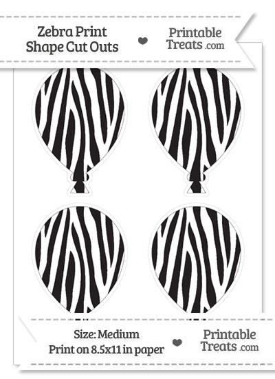 Medium Sized Zebra Print Balloon Cut Outs from PrintableTreats.com