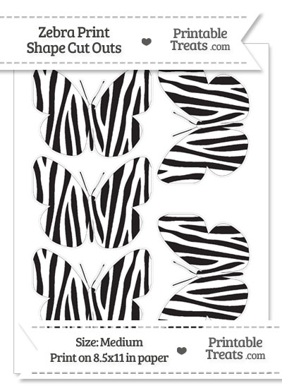Medium Sized Zebra Print Butterfly Cut Outs from PrintableTreats.com