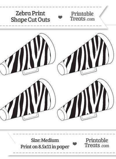 Medium Sized Zebra Print Cheer Megaphone Cut Outs from PrintableTreats.com
