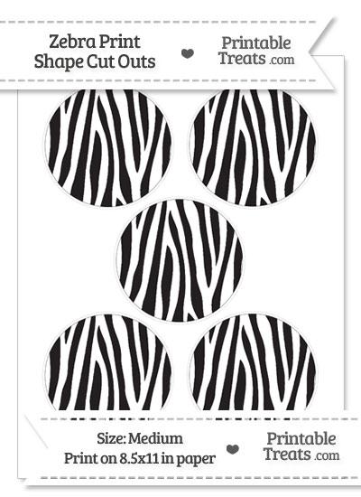 Medium Sized Zebra Print Circle Cut Outs from PrintableTreats.com