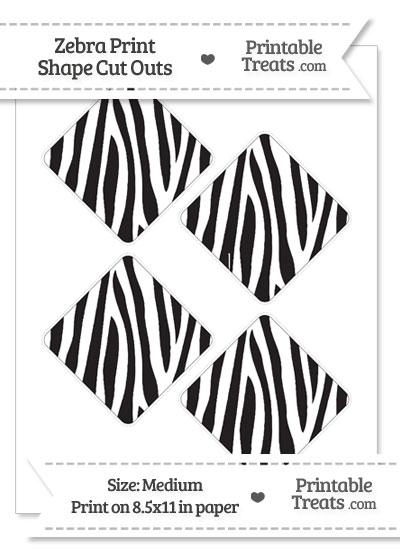 Medium Sized Zebra Print Diamond Cut Outs from PrintableTreats.com