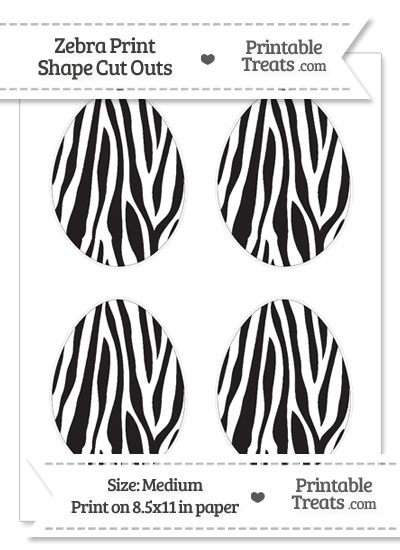 Medium Sized Zebra Print Easter Egg Cut Outs from PrintableTreats.com