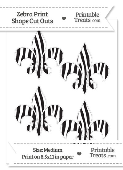 Medium Sized Zebra Print Fleur de Lis Cut Outs from PrintableTreats.com