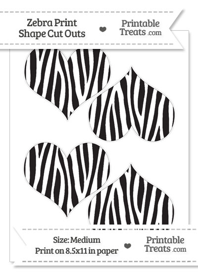 Medium Sized Zebra Print Heart Cut Outs from PrintableTreats.com