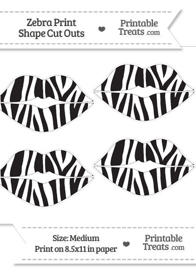 Medium Sized Zebra Print Lips Cut Outs from PrintableTreats.com