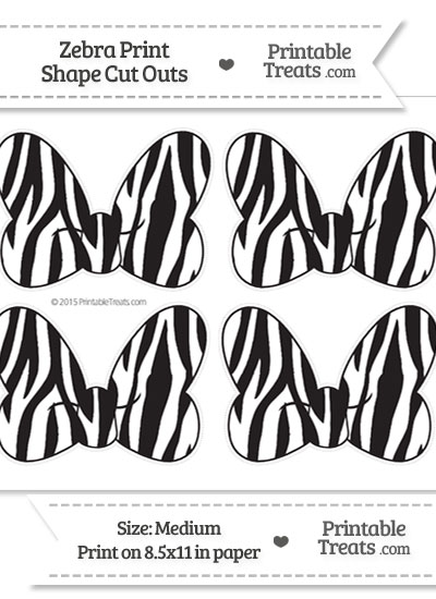 Medium Sized Zebra Print Minnie Mouse Bow Cut Outs from PrintableTreats.com