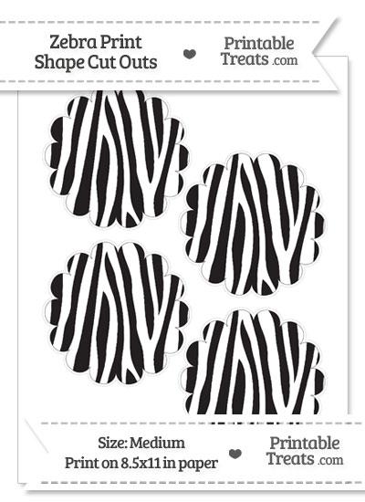 Medium Sized Zebra Print Scalloped Circle Cut Outs from PrintableTreats.com