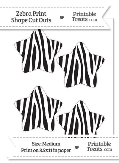 Medium Sized Zebra Print Star Cut Outs from PrintableTreats.com