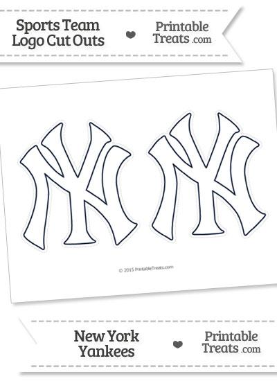 Medium White New York Yankees Logo Cut Outs from PrintableTreats.com