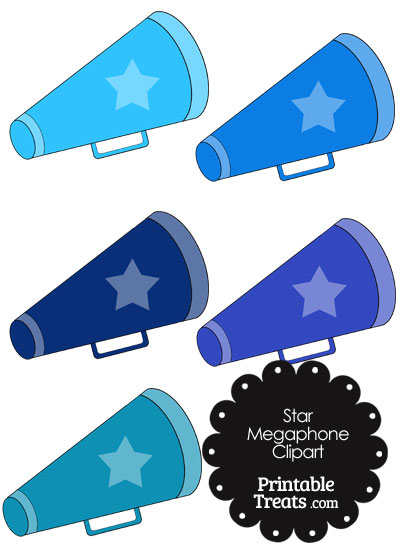 Megaphone Clipart in Shades of Blue from PrintableTreats.com