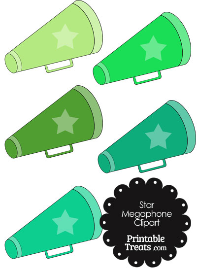 Megaphone Clipart in Shades of Green from PrintableTreats.com