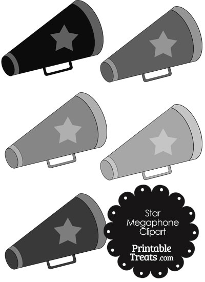 Megaphone Clipart in Shades of Grey from PrintableTreats.com