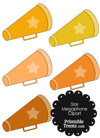 Megaphone Clipart in Shades of Orange from PrintableTreats.com