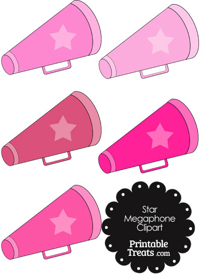 Megaphone Clipart in Shades of Pink from PrintableTreats.com