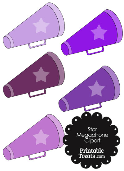 Megaphone Clipart in Shades of Purple from PrintableTreats.com