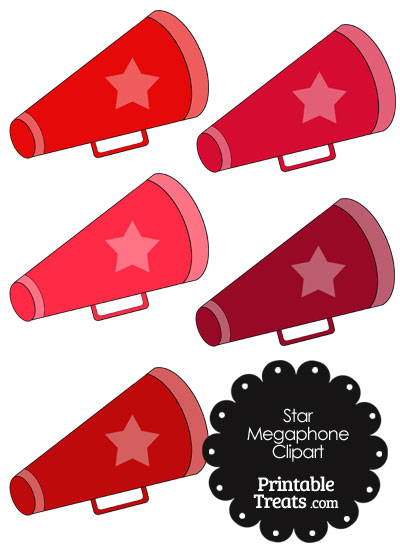 Megaphone Clipart in Shades of Red from PrintableTreats.com