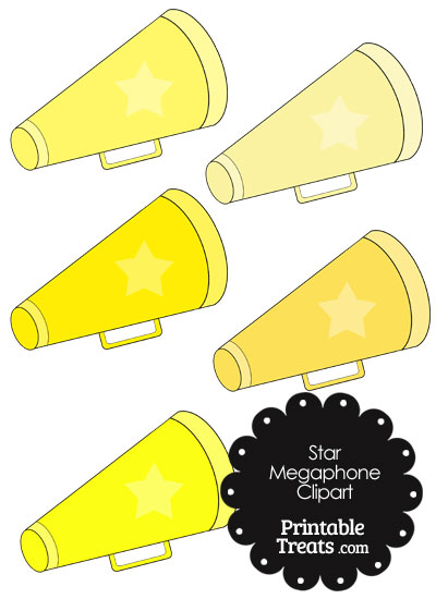 Megaphone Clipart in Shades of Yellow from PrintableTreats.com