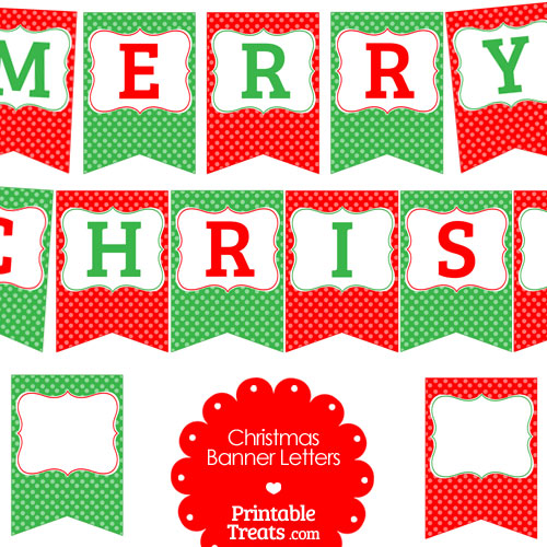 merry Christmas polka dot banner letters