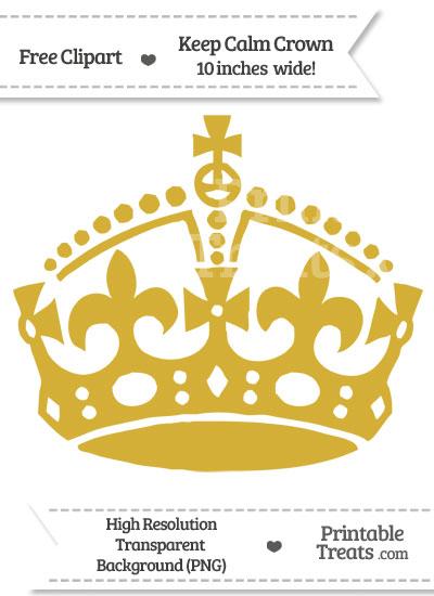 Metallic Gold Keep Calm Crown Clipart from PrintableTreats.com