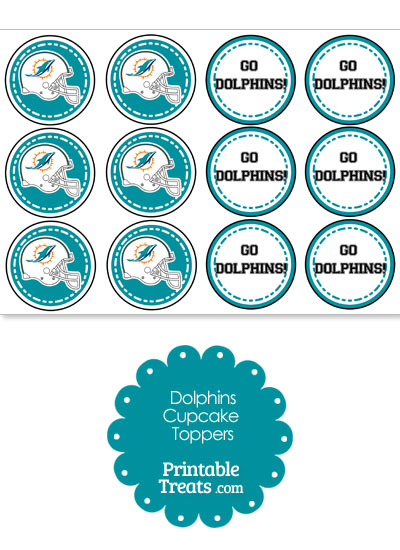 Miami Dolphins Cupcake Toppers from PrintableTreats.com