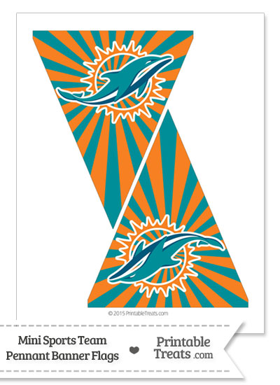 Miami Dolphins Mini Pennant Banner Flags from PrintableTreats.com