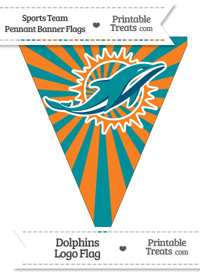 Miami Dolphins Pennant Banner Flag from PrintableTreats.com