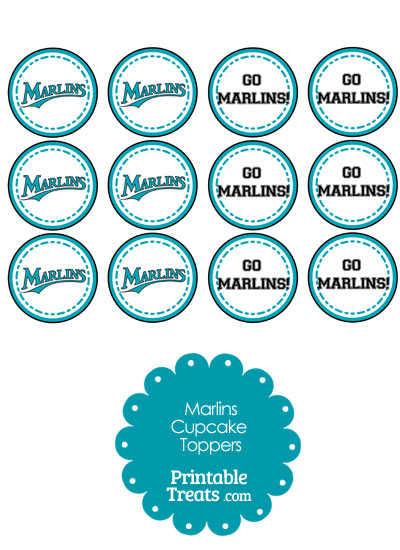 Miami Marlins Cupcake Toppers from PrintableTreats.com