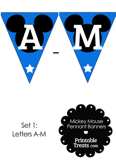 Mickey Mouse Banner Letters A-M in Blue from PrintableTreats.com