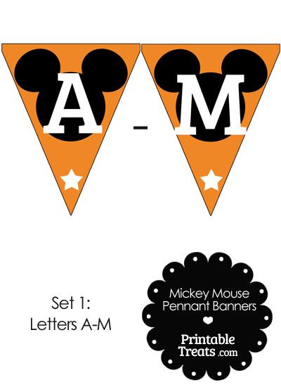 Mickey Mouse Banner Letters A-M in Orange from PrintableTreats.com