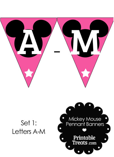 Mickey Mouse Banner Letters A-M in Pink from PrintableTreats.com