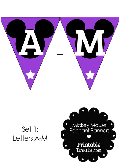 Mickey Mouse Banner Letters A-M in Purple from PrintableTreats.com