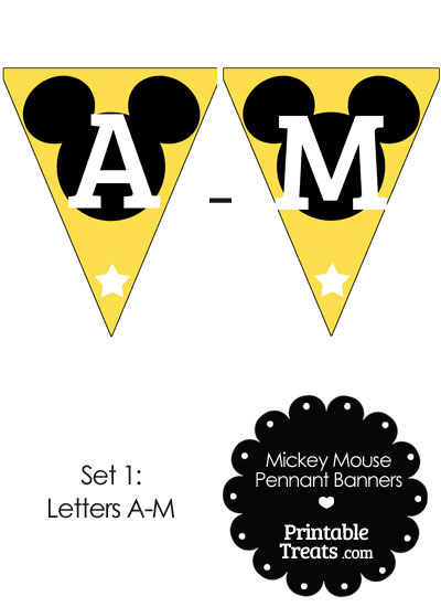 Mickey Mouse Banner Letters A-M in Yellow from PrintableTreats.com