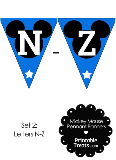 Mickey Mouse Banner Letters N-Z in Blue from PrintableTreats.com
