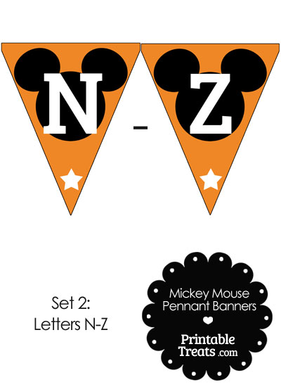 Mickey Mouse Banner Letters N-Z in Orange from PrintableTreats.com