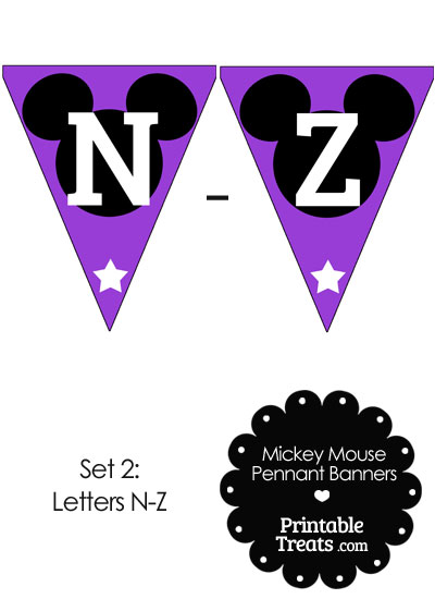 Mickey Mouse Banner Letters N-Z in Purple from PrintableTreats.com