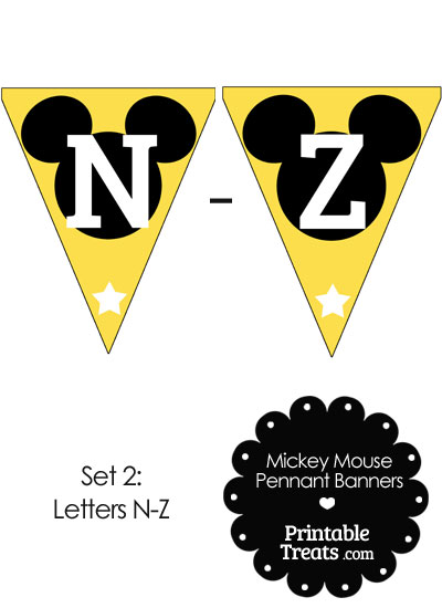 Mickey Mouse Banner Letters N-Z in Yellow from PrintableTreats.com