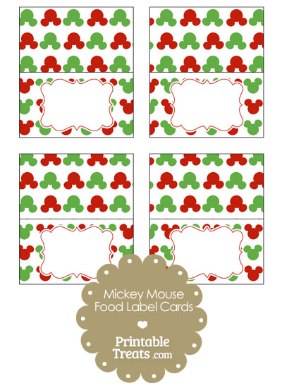 Mickey Mouse Christmas Food Labels from PrintableTreats.com
